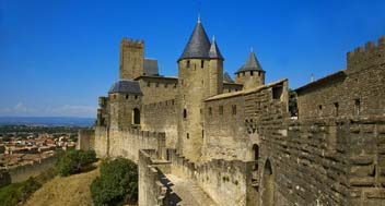 carcassonne castle with blue sky