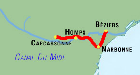 5 day canal du midi bicycle tour map via narbonne